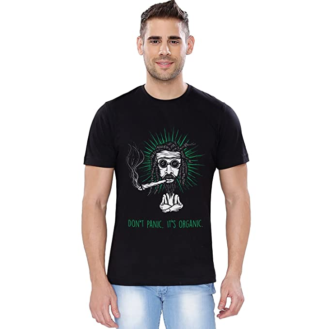 f5e5a0061 The Souled Store It's Organic (Glow in Dark) Alcohol Printed Black Cotton T- Shirt for Men Women and Girls: Amazon.in: Clothing & Accessories