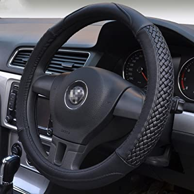 Moyishi Top Leather Steering Wheel Cover Universal Fit Soft Breathable Steering Wheel Wrap (Black): Automotive
