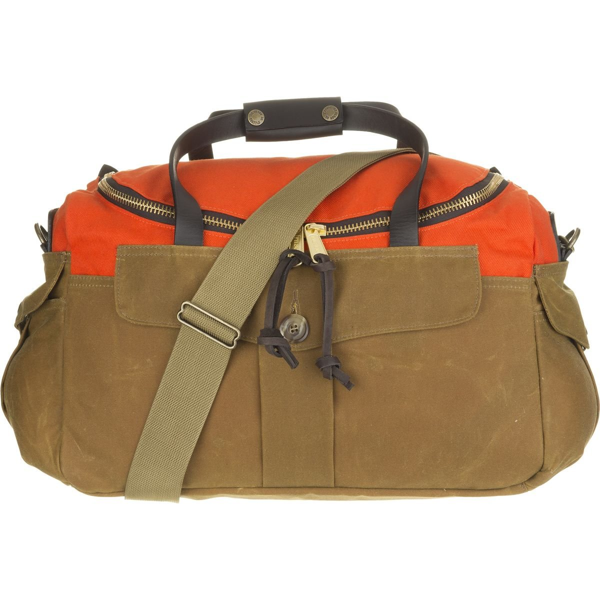Amazon.com   Filson Original Sportsman Heritage Bag Orange Dark Tan ... acbbab595d