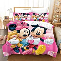 Supstar Mickey Minnie Mouse Bedding Sets for Kids Pink Stripe Toy Bear Cotton Candy Cartoon Anime Star Duvet Cover Sets…