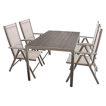 Gartenmöbel Set Sitzgruppe Aluminium Polywood / Non Wood Gartentisch  150x90cm + 4x Hochlehner Mit