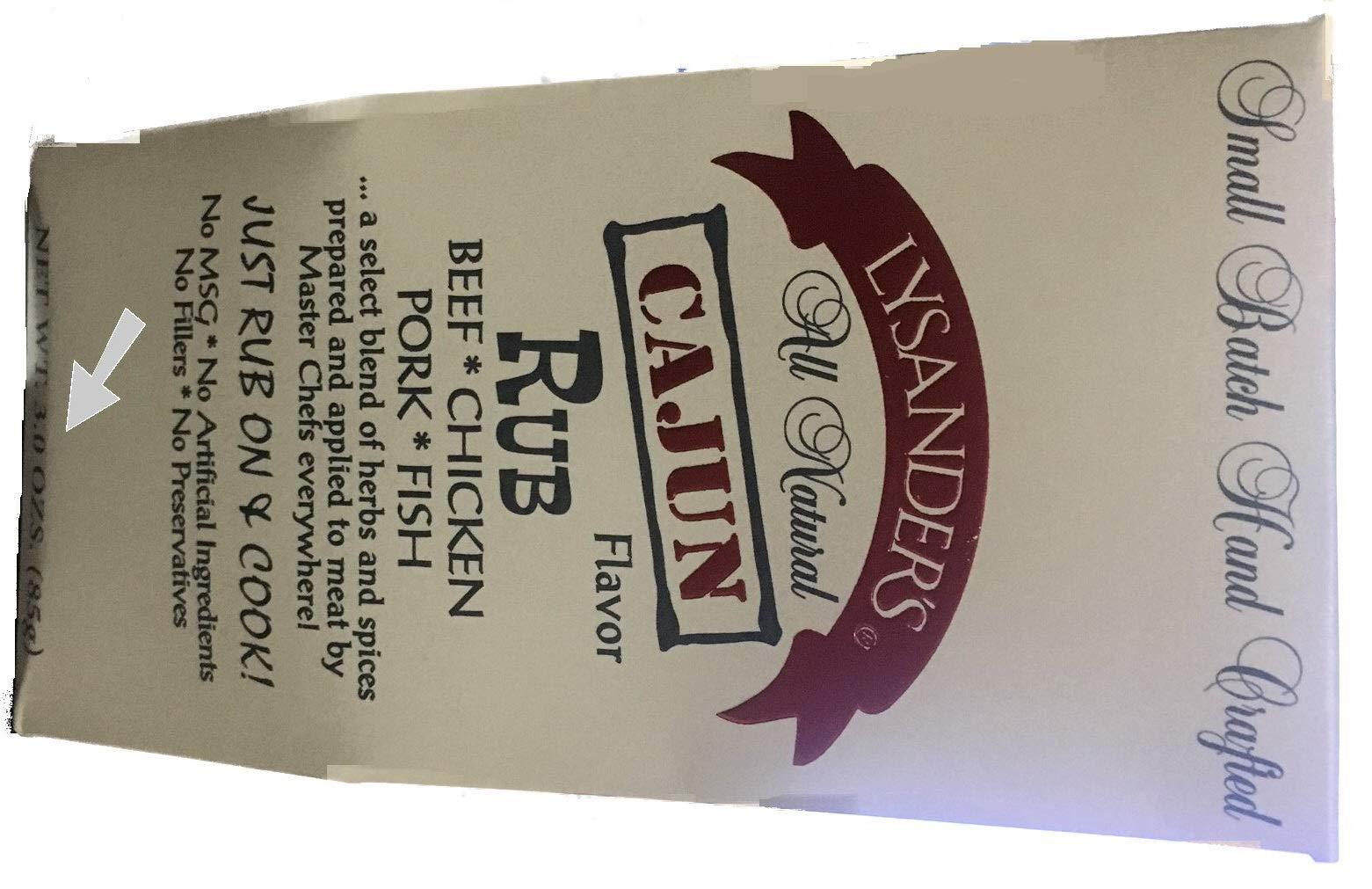 Lysander's Cajun Rub, 3 Ounce (Pack of 6)