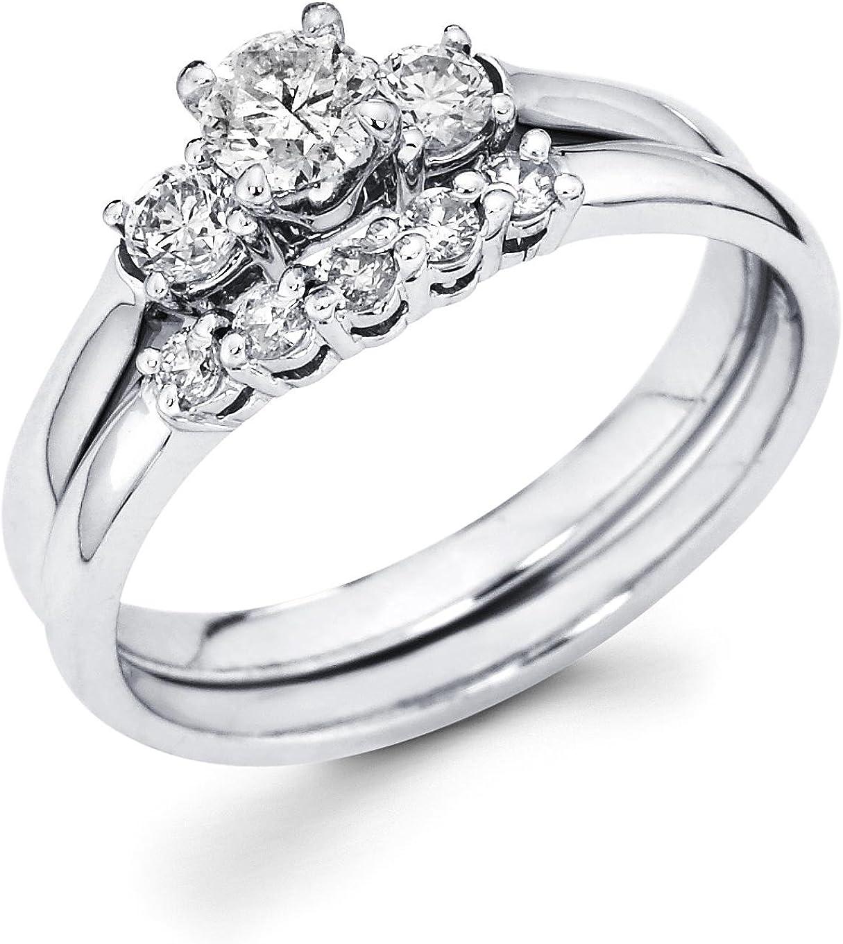 3 ct Round Diamond 14k White Gold Over 5 Stone Engagement Anniversary Band Ring
