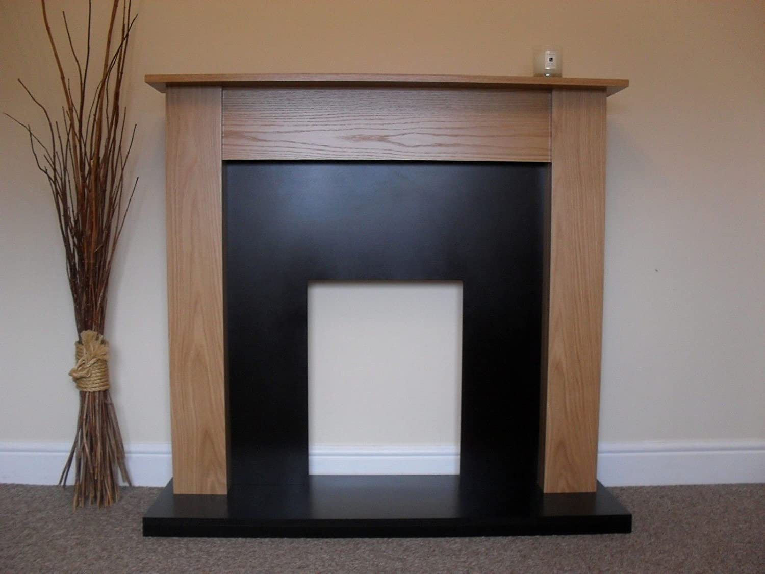 gas electric oak surround black granite stone marble modern wall