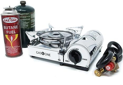 GasOne GS-800P – Estufa de Campamento – Propano y butano Mini Dual Combustible Inoxidable portátil propano y butano Estufa de Camping con Encendido ...