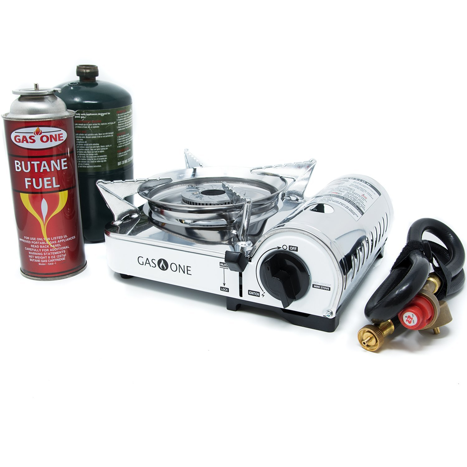 Gas One GS-800P -  Camp Stove - Propane & Butane Mini DUAL FUEL Stainless Portable Propane & Butane Camping Stove Burner with piezo ignition and Carrying Case (Stove)