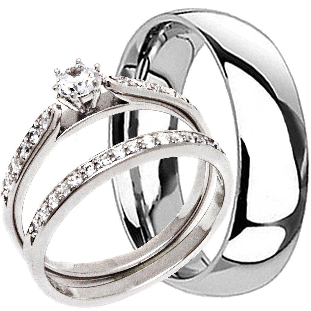 3 Pieces Men's and Women's, His & Hers, 925 Genuine Solid Sterling Silver & Titanium Engagement Matching Wedding Anniversary Ring Set