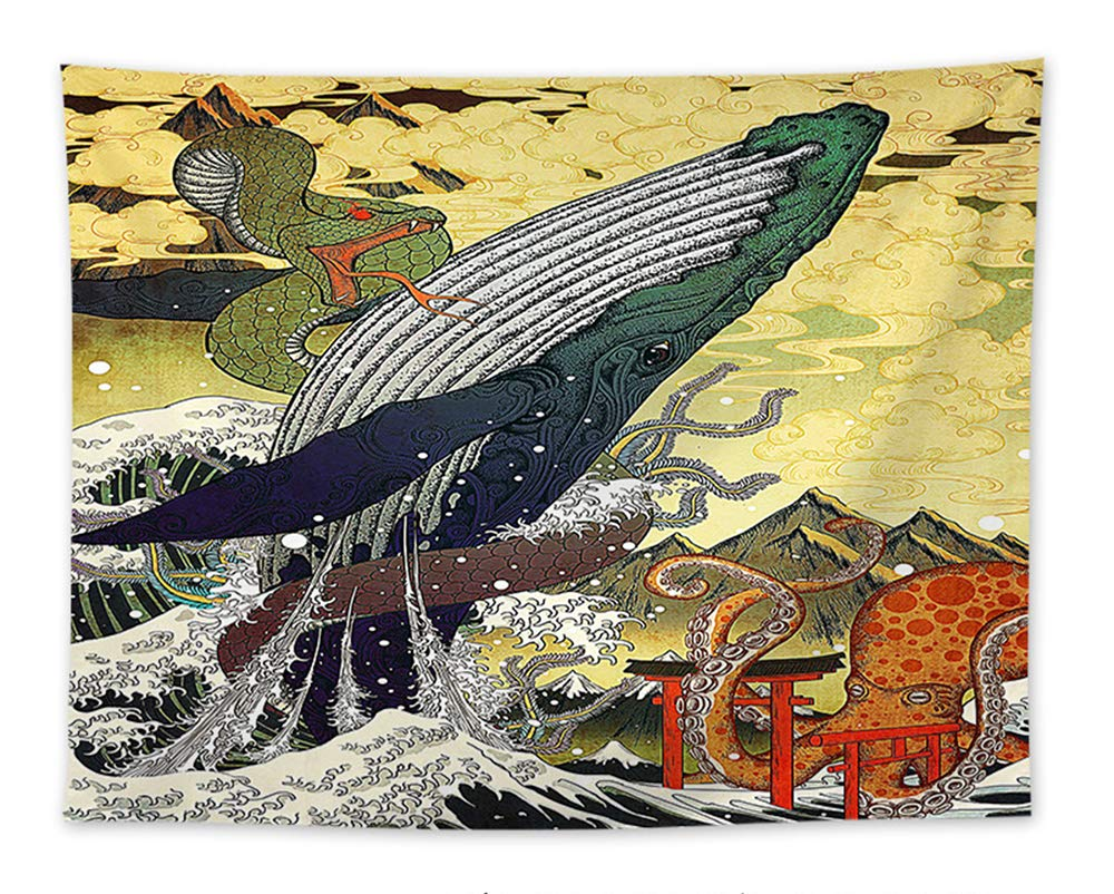 Festhad large whale snake kraken great wave painting tapestry traditional mt fuji clouds wall art wall tapestry traditional japanese ukiyo e wall hanging