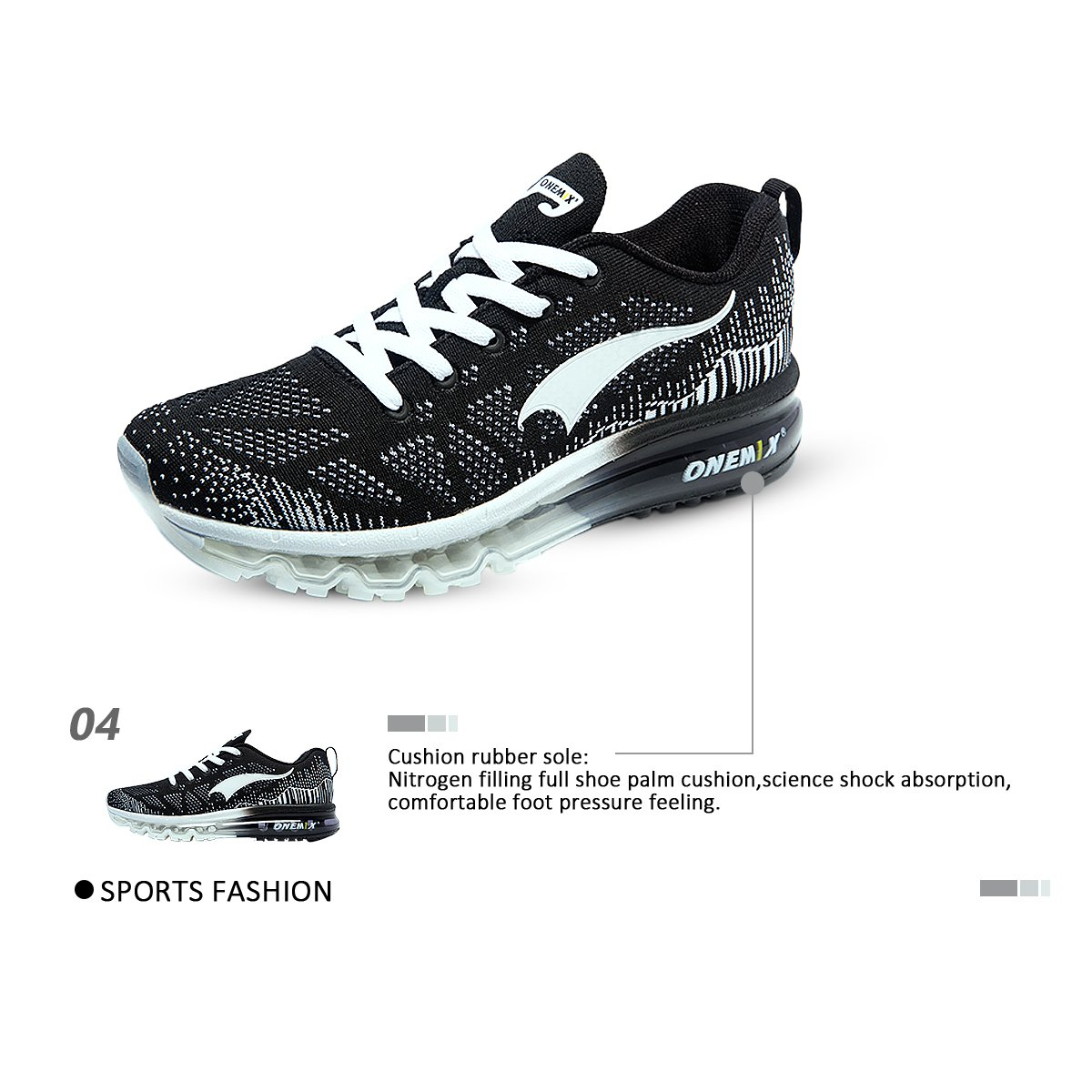 ONEMIX Women's Lightweight Air Cushion Outdoor Sport Running Shoes B071XRBWYH Women 5.5(M)US/Kid 4(M)US 36EU|Black White