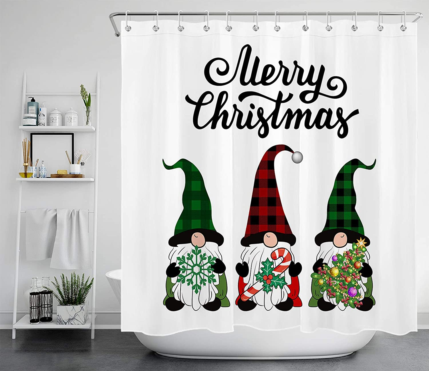 LB Funny Christmas Gnomes Shower Curtain Buffalo Check Plaid Hat Elf Xmas  Tree Canes Snowflake Shower Curtains for Bathroom Decoration Set with Hooks
