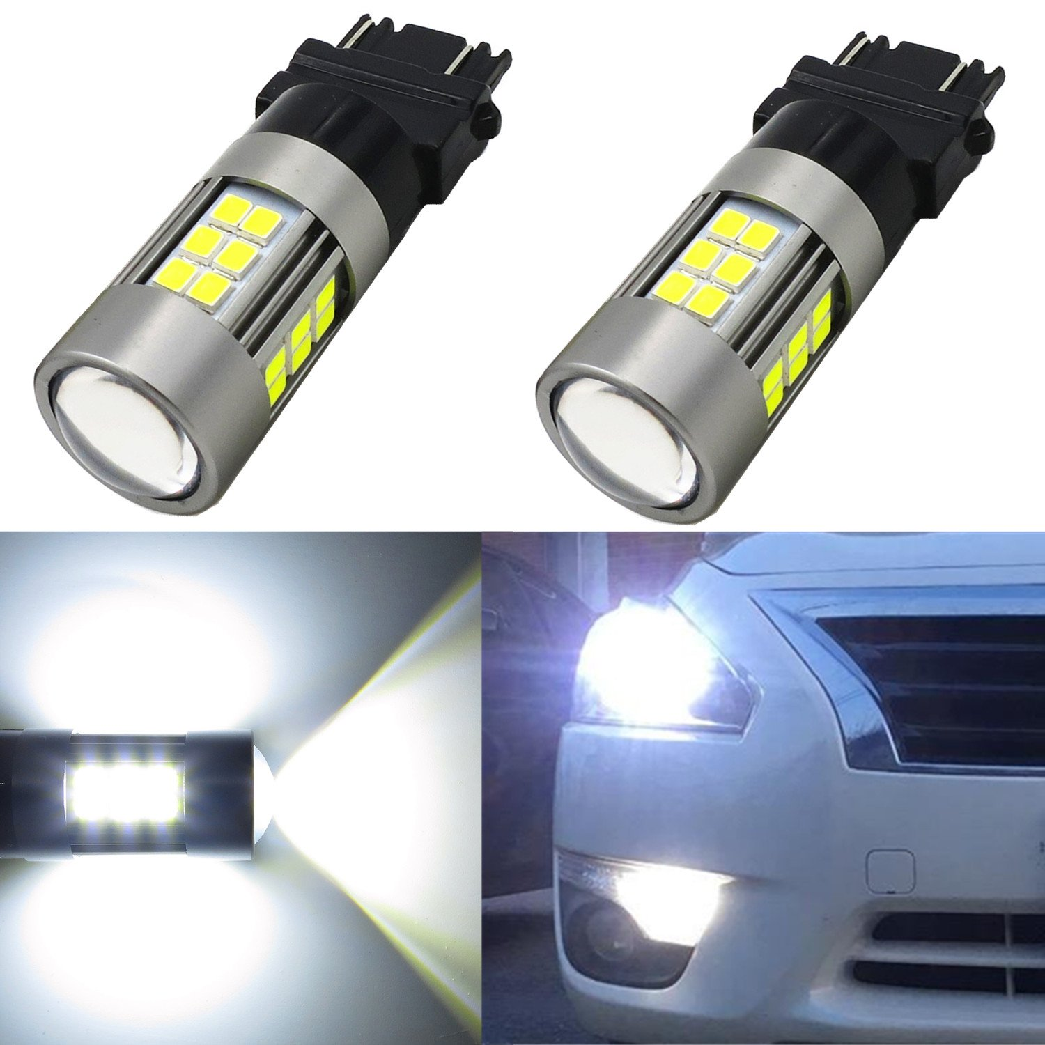 Alla Lighting Super Bright LED 3157 Bulb High Power 2835-SMD 4157 3457 3156 3057 3157 LED Bulb for Turn Signal Blinker Light Bulbs Replacement- Compatible Standard & CK Type, Amber Yellow (Set of 2) Alla-3157-2835-39Y