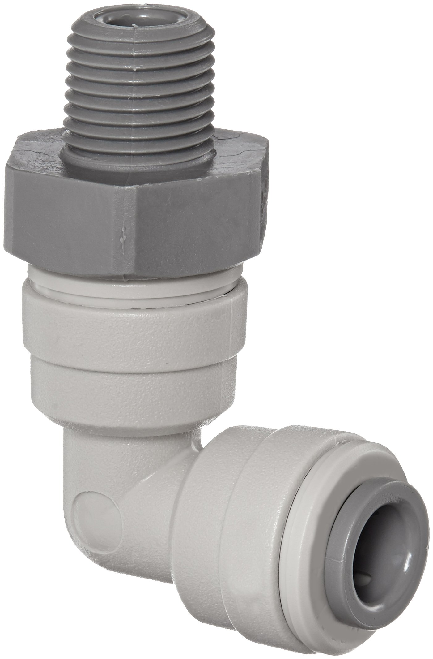 John Guest Acetal Copolymer Tube Fitting, Swivel Elbow, 1/4'' Tube OD x 1/8'' NPTF Male (Pack of 10) by John Guest