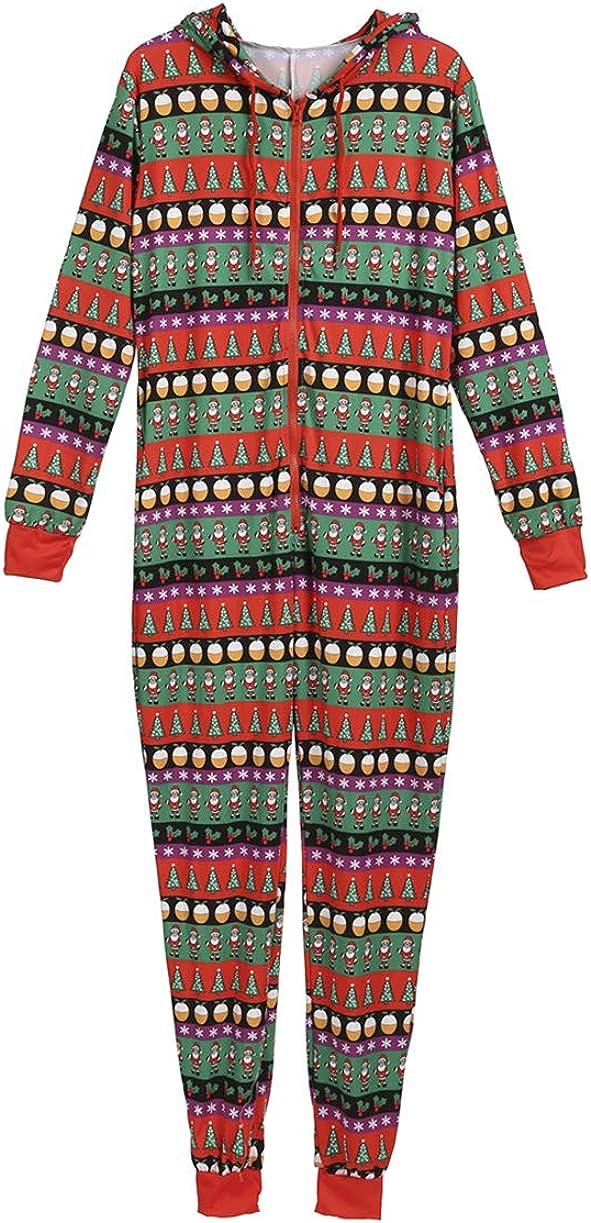 Vawal Familien Weihnachts Pyjamas Set Jumpsuit Kapuzenpullover Strampler Bodysuit Nachtw/äsche