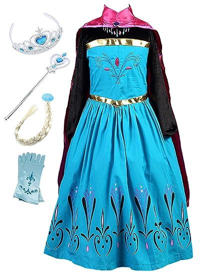 Prinzessin Mädchen ELSA Monissy Anna Kleid Kostüm Kostüm Eiskönigin UpGqMVLSz