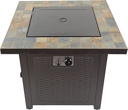 Amazon Com Hiland Gft 60843 High Output Propane Fire Pit 50 000 Btu W Amber Fire Glass Included 30 Square Slate Top Garden Outdoor
