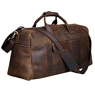 Amazon.com | S-ZONE Vintage Crazy Horse Leather Men's Travel ...
