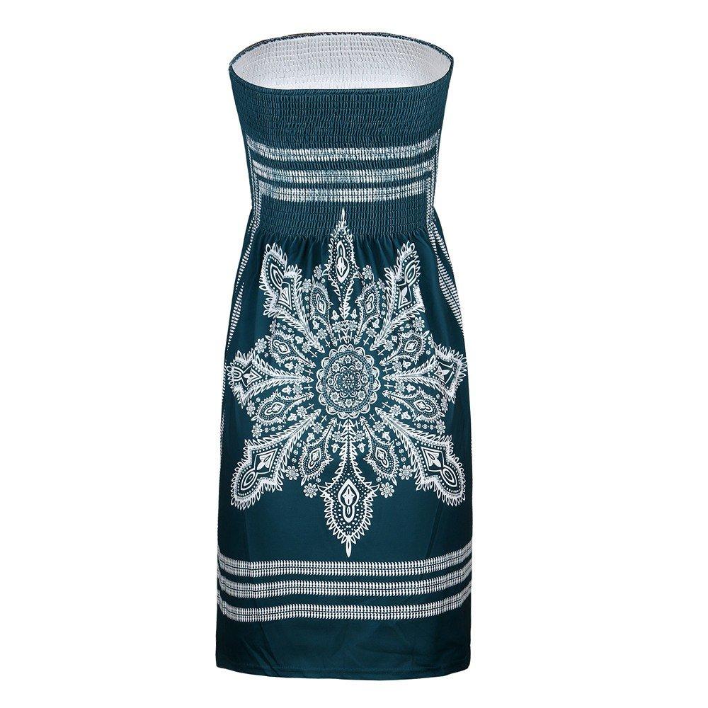 NRUTUP Women Summer Sleeveless Boho Floral Print Bandeau Beach Dress Cover up Bath Suit