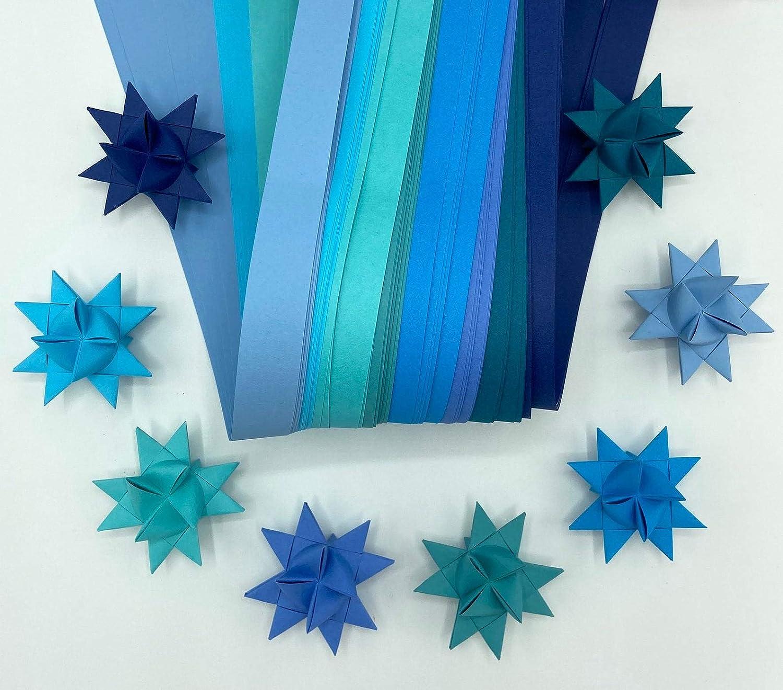 3//4 Paper Strips for German Moravian Stars /& Weaving ~Shades of Blue Froebel