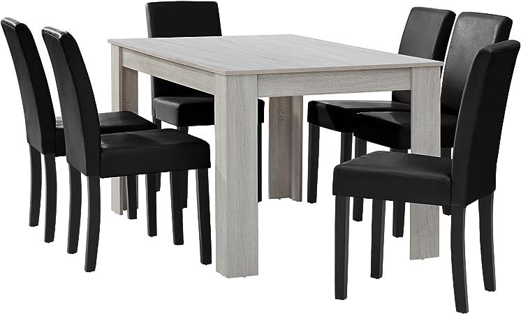 [en.CASA] Table à Manger chêne Blanc avec 6 chaises Noir Cuir-synthétique  rembourré140x90