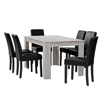 en.CASA] Table à Manger chêne Blanc avec 6 chaises Noir Cuir ...