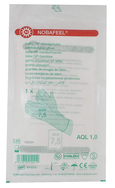 1 Paar sterile OP Handschuhe Latex Einmalhandschuhe PF Gr. 7, 5 Noba Verbandmittel