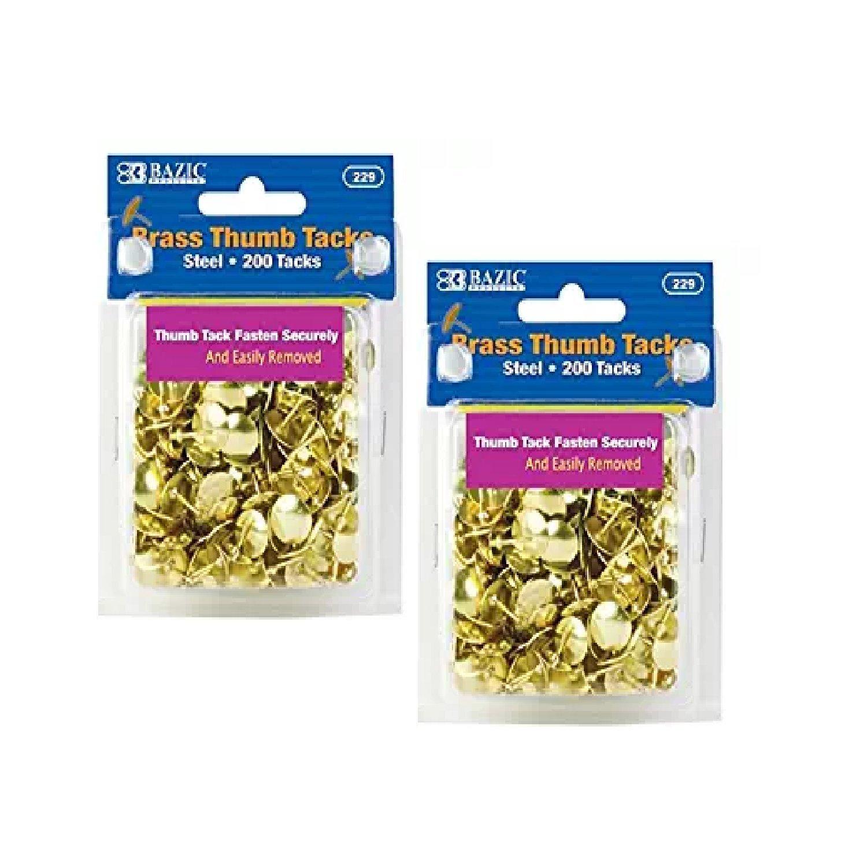 BAZIC Gold Thumb Tacks. 200 Push Pins for Crafts and Office Organization 229