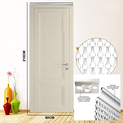 Silver Aluminium Door Window Metal Chain Link Curtain Fly Screen Strip  Blinds Keeps out Flies Wasps Pest Insect & Bees, Best for Home, Kitchen and