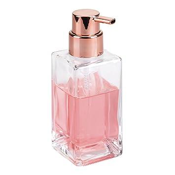 mDesign Dispensador de espuma – Elegante dosificador de jabón en espuma de cristal con capacidad de