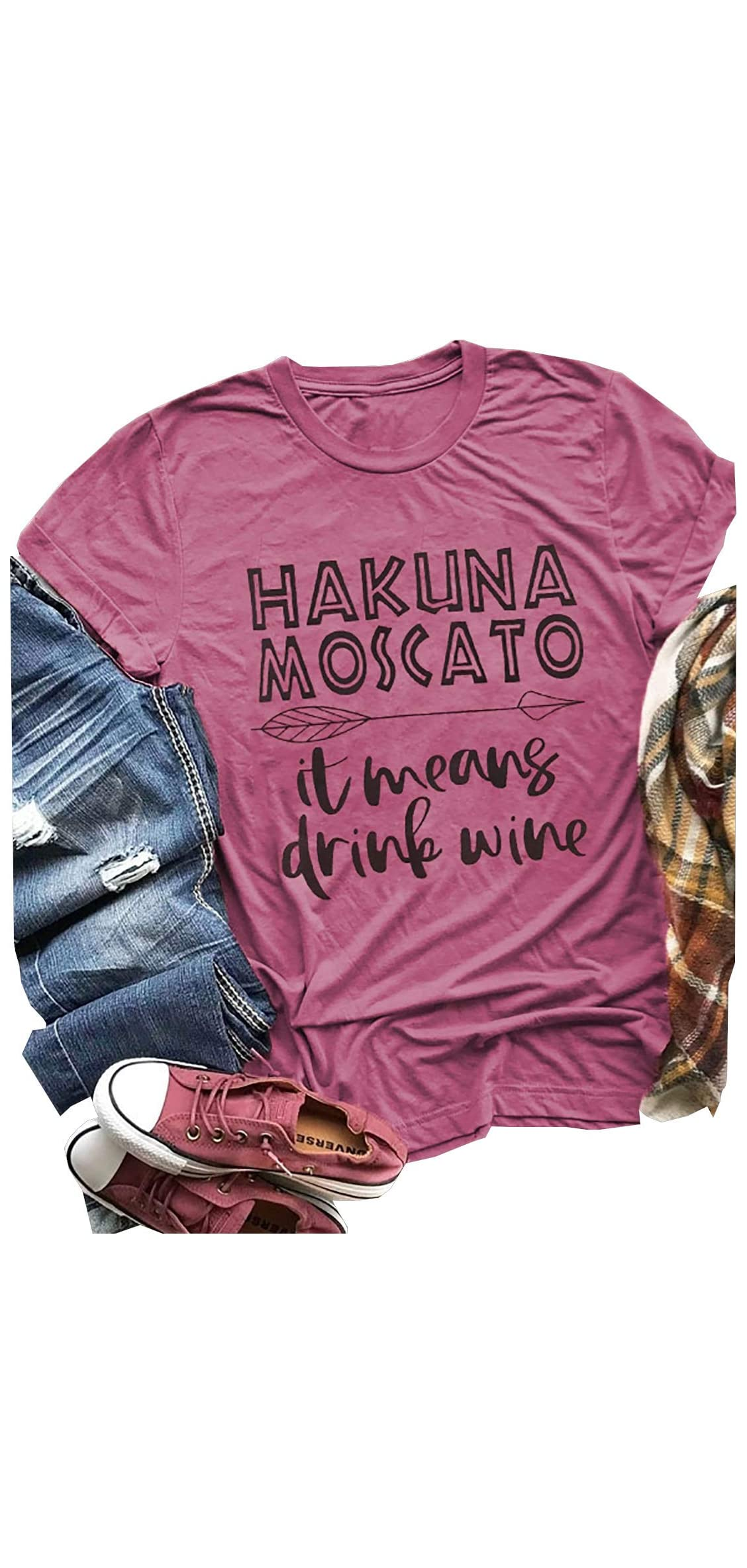 Women Hakuna Moscato It Means Drink Wine T-shirt Short Sleeve