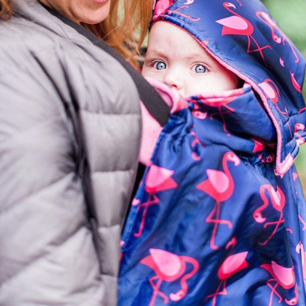 Con forro polar Azul marino//rosa BundleBean Funda para todo tipo de portabeb/és Dise/ño de flamencos BabyWearing