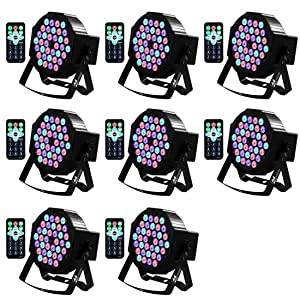 DJ Lights Missyee 36 X 1W RGB LEDs DJ Uplighting Package Sound Activated Stage Lights with Remote Control Compatible with DMX, 9 Modes LED Up Lights for Wedding Event Party Festival (8 Packs)