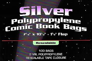 BCW Regular Silver Thick Resealable 2-Mil Polypropylene Comic Book Bags 100