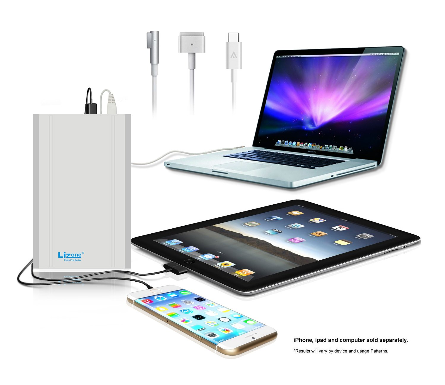 Lizone 50000mAh Extra Pro External Battery for Apple MacBook MacBook Pro MacBook Air USB QC Charger for Apple New MacBook 12 iPad iPhone 7 7 plus SE 6 6S Plus 5S 5C 5 4 Samsung HTC and more -Silver