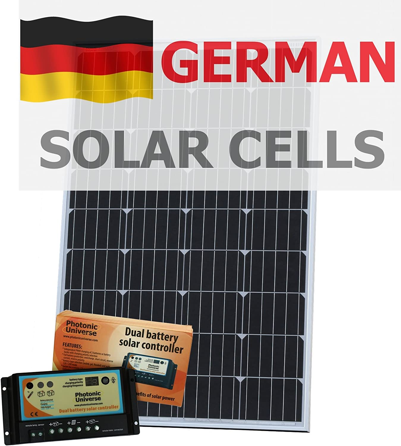120W 12V Photonic Universe dual battery solar charging kit made of German solar cells with 10A charge controller and 5m cable