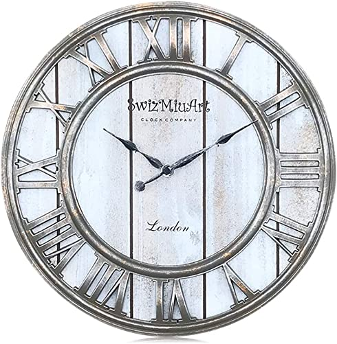 Wood Wall Clocks Rustic Farmhouse Battery Operated Non Ticking Silent Wall Clock Metal 3D Large Home Decor Retro Clocks for Bedrooms Walls, Office, Living room, kitchen, Antique Vintage 13 inch Gray