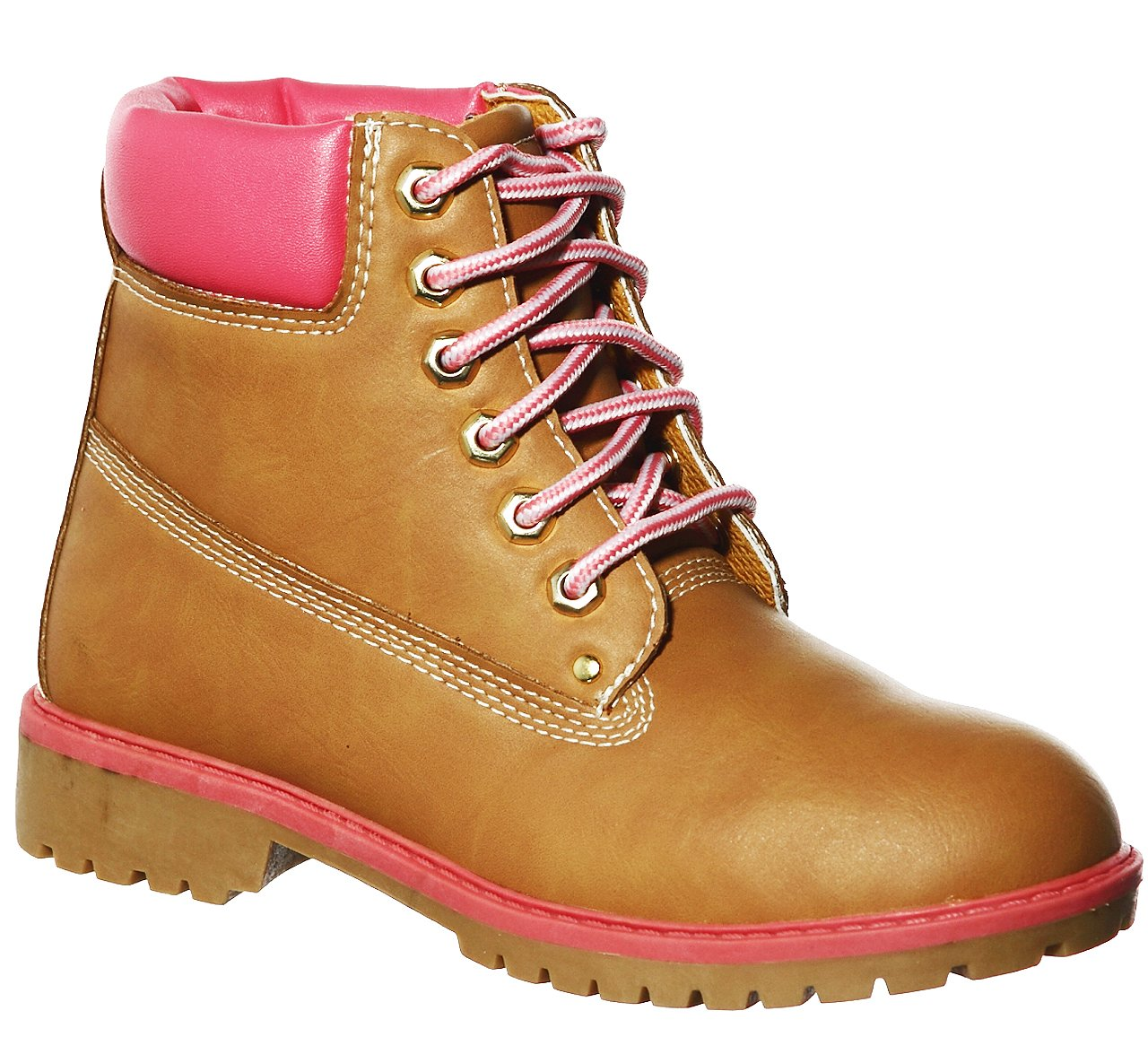 New!! Lace-up Quilted-Ankle/Fold-Over Lug Sole Ankle Boots Multiple Styles(7, Tan/Pink)[Apparel] by shoewhatever