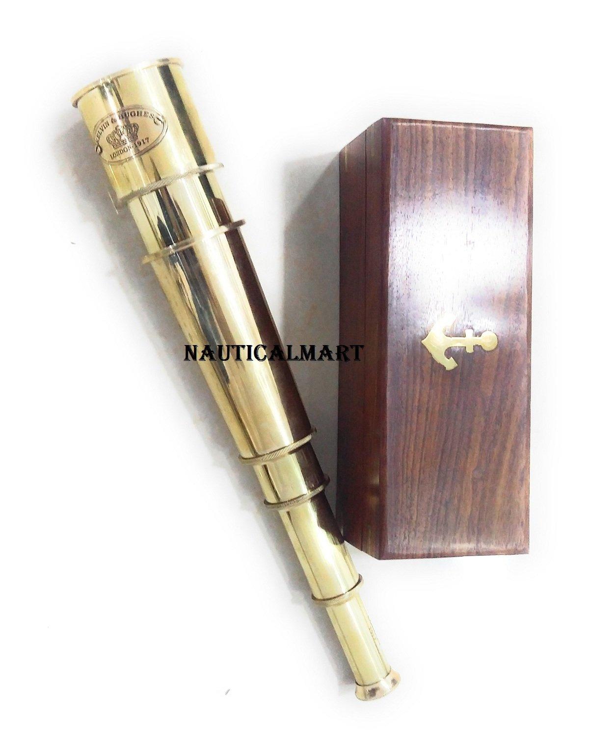 18'' Solid Brass' KELVIN & HUGHES LONDON - 1917' Telescope W/ Wooden Box By Nauticalmart by NAUTICALMART (Image #4)