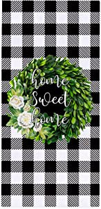 Decorative Kitchen Towels 18×28 Inch Farmhouse Black Plaid with Olive Wreath Absorbent Dish Towels   Tea Towels   Bar Towels Home Sweet Home Dish Cloth for Kitchen Decor