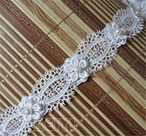 2 Meters Flower Pearl Eyelash Lace Edge Trim Ribbon 3 cm Width Vintage Style Off White Edging Trimmings Fabric Embroidered Applique Sewing Craft Wedding Dress Embellishment Decor Clothes Embroidery