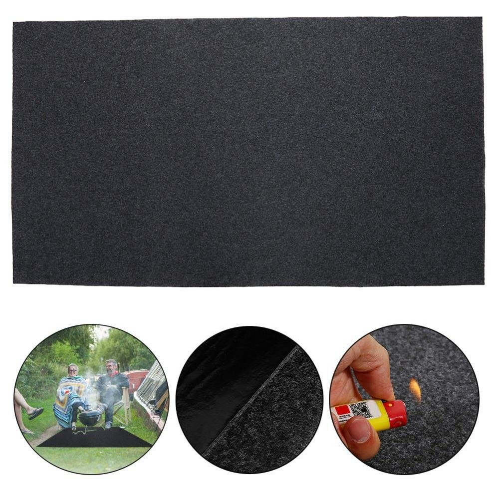 Yosooo BBQ Grill Mat Fireproof Heat Resistant BBQ Gas Grill Splatter Mat Backyard Floor Protective Rug for Outdoor Floor Decks,48 x 29 Inch