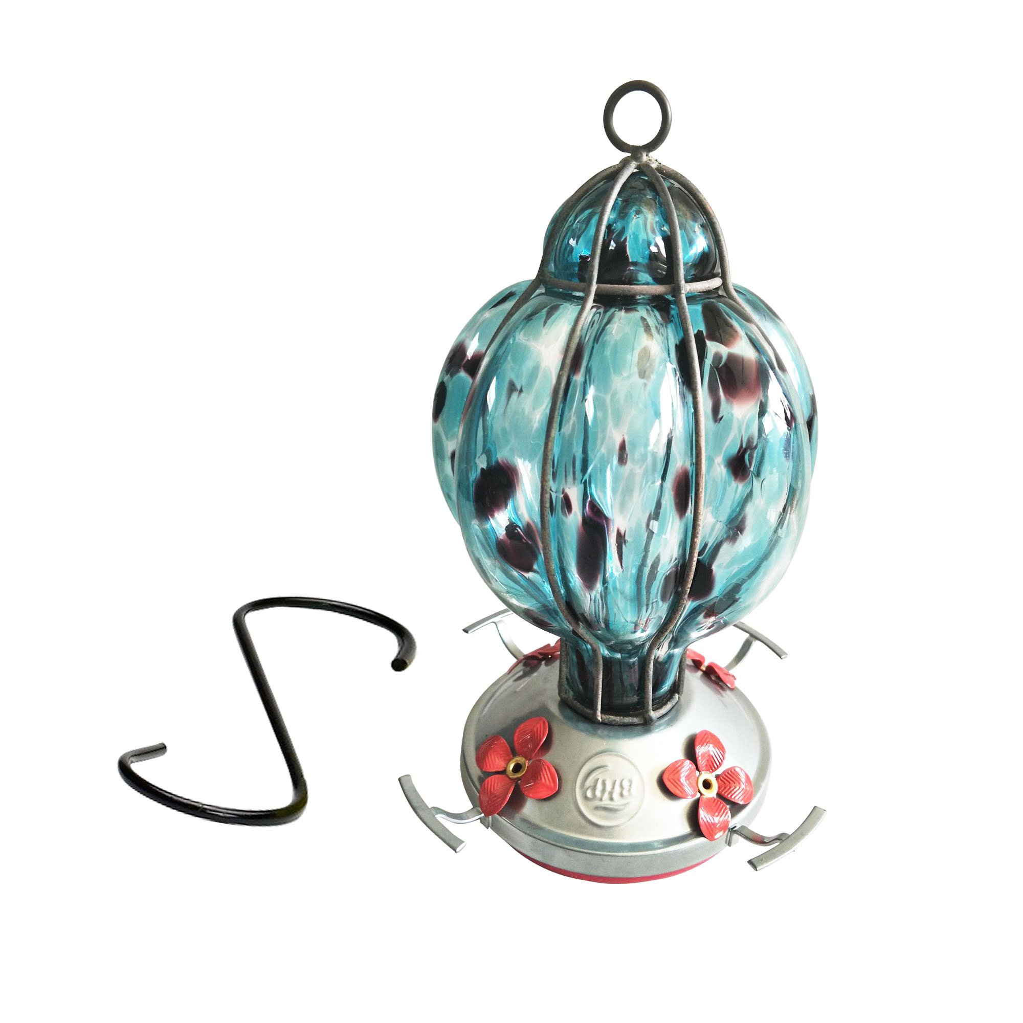 Best Home Products - Hummingbird Feeder with Perch - Blown Glass - Blue Black