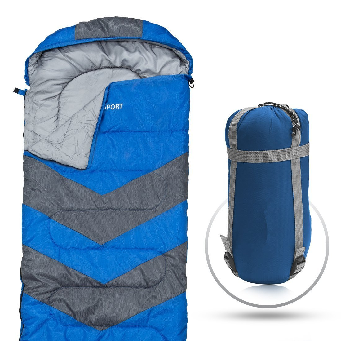 Abco Tech Sleeping Bag シュラーフ – Envelope Lightweight Portable, Waterproof, Comfort With Compression Sack (並行輸入品) B07C4VDQJR  Blue One Size