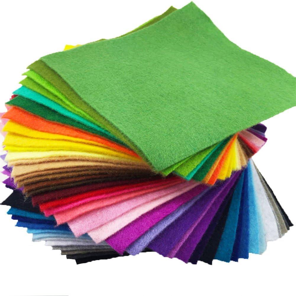 flic-flac 42pcs1.4mm Thick Soft Felt Fabric Sheet Assorted Color Felt Pack DIY Craft Sewing Squares Nonwoven Patchwork 25cm 25cm