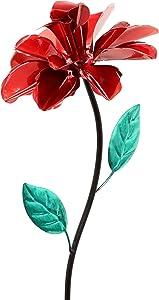 Exhart Rose Wind Spinner Garden Stake - Single Rose Flower Spinner Hand Painted in Metallic Red & Green Colors - Fade-Resistant Metal Rose Pinwheel - Best as Kinetic Art Flower Décor, 8