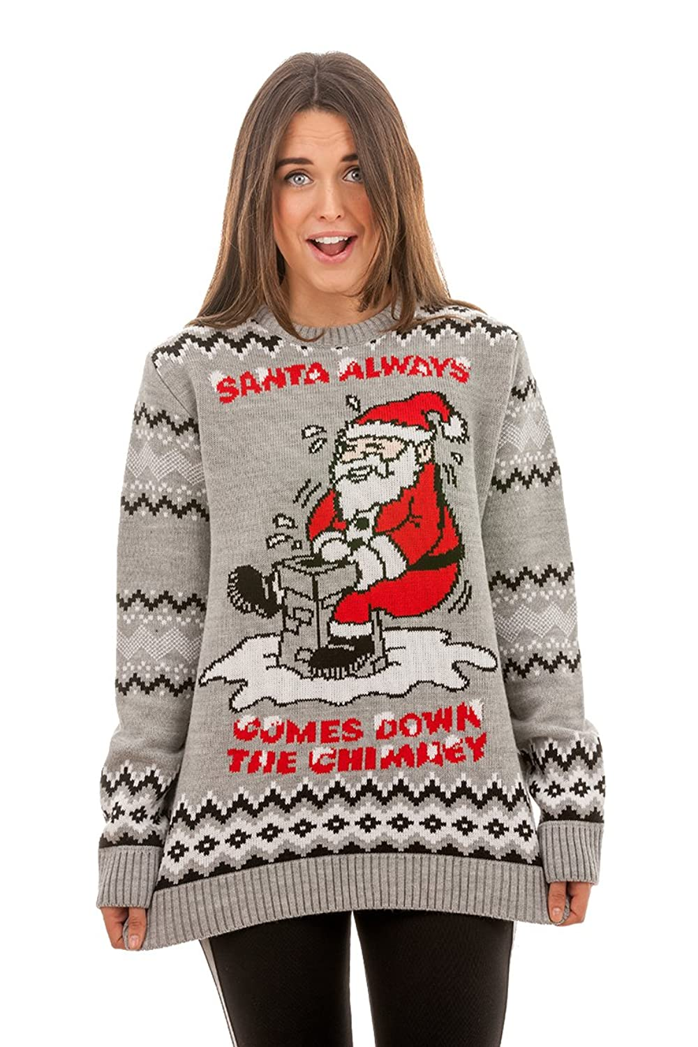 Rude Christmas Jumpers Men\'s Santa Always Comes Knitted Christmas ...