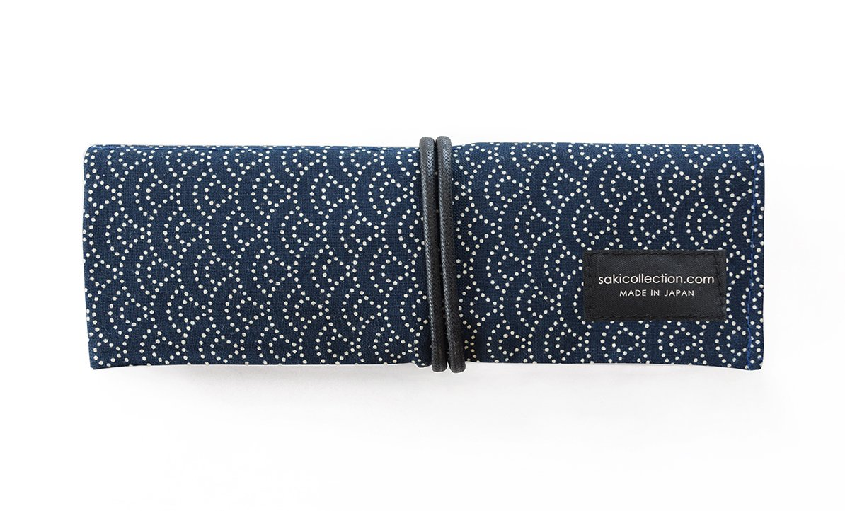 1 X Saki P-661 Roll Pen Case with Traditional Japanese Fabric - Navy by Saki Collection (Image #3)
