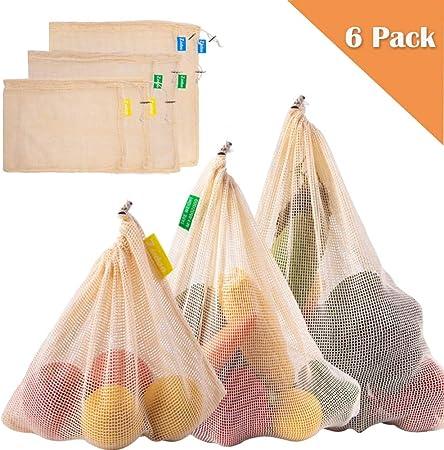 Zindoo Bolsa Reutilizable Algodon, Alternativa al plástico, Lavable y Transpirable Bolsa de Malla para Almacenamiento Fruta Verduras Juguetes 6PCS (2S*2M*2L): Amazon.es: Hogar