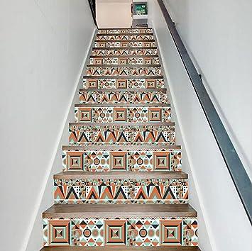 QQA Treppe Decals Wasserdicht DIY Selbstklebend Entfernbar Hawaiisch  Kreativ Mauer Aufkleber Zuhause Dekor 18 Cm X