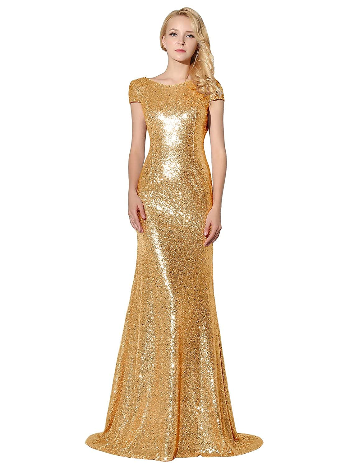 Clearbridal Women's Formal Mermaid Sequine Prom Evening Dress Long Sweep Train Bridesmaid Gown SD197, Gold, UK 16