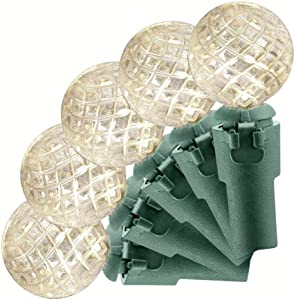 Home Accents Holiday 34 ft. 100-Light LED Crystal Faceted Sphere Pearl Warm White String Light TY358-1915